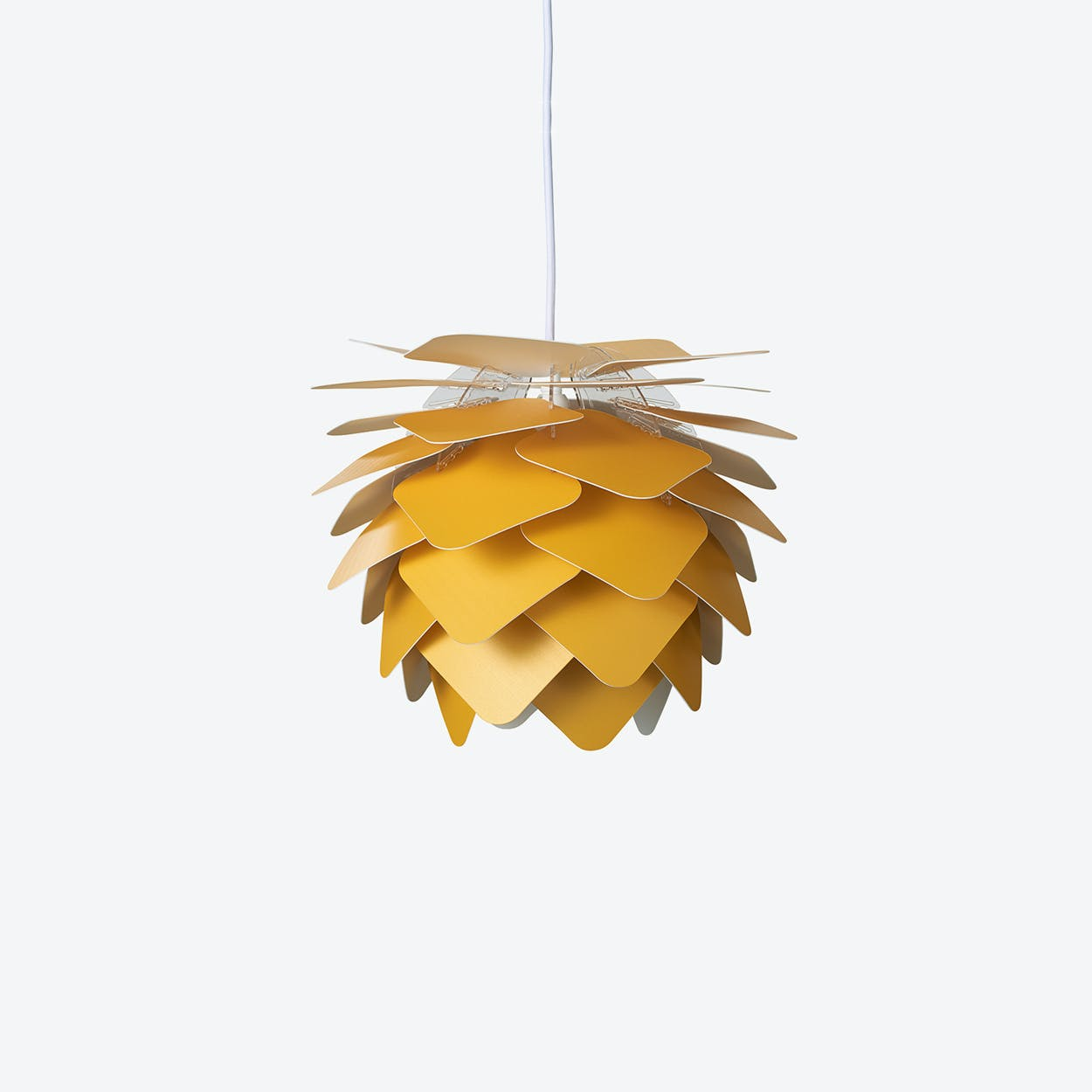 Round Square Pendant Lamp in Yellow