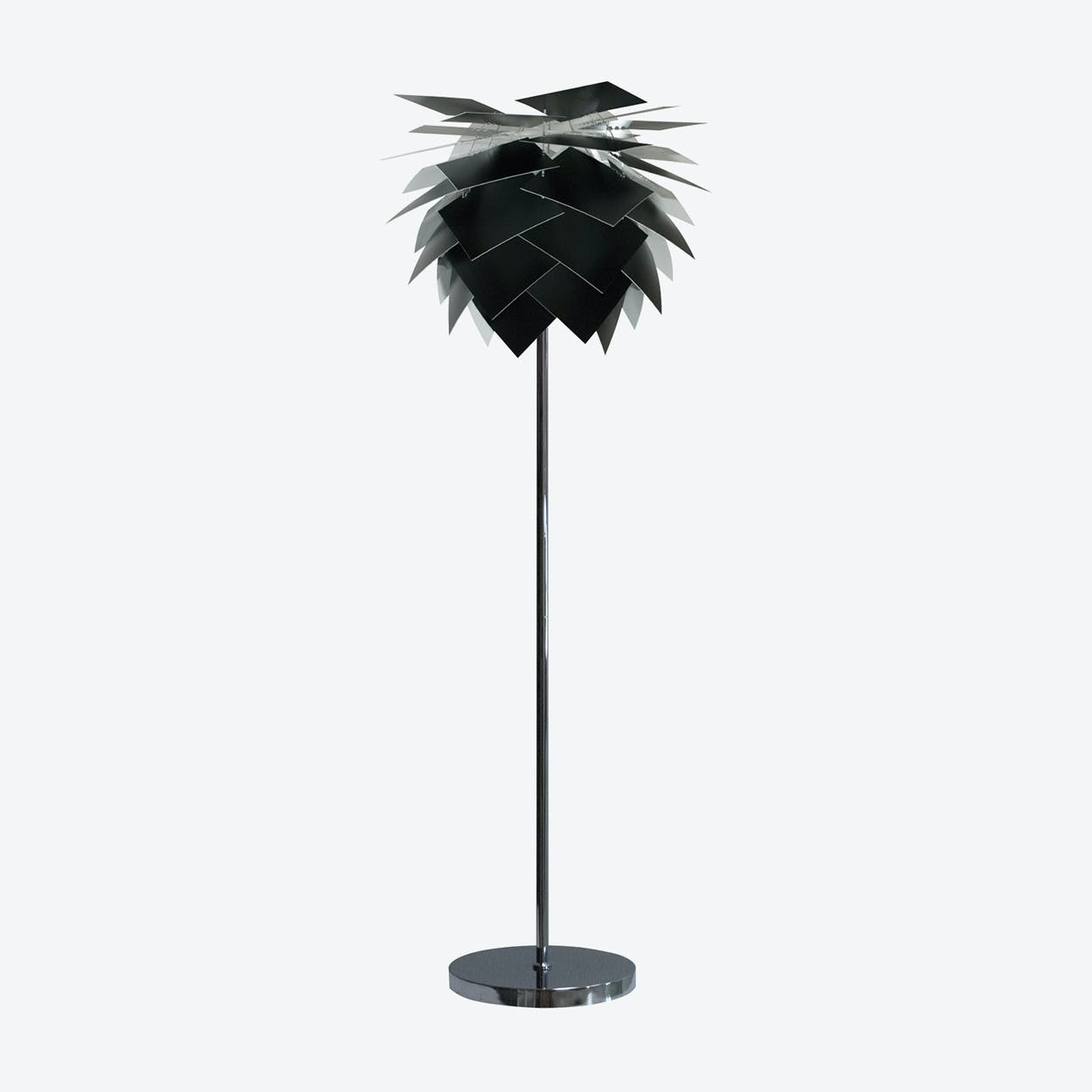 Special Edition Medium Black PineApple Floor Lamp in Matte Satin Finish