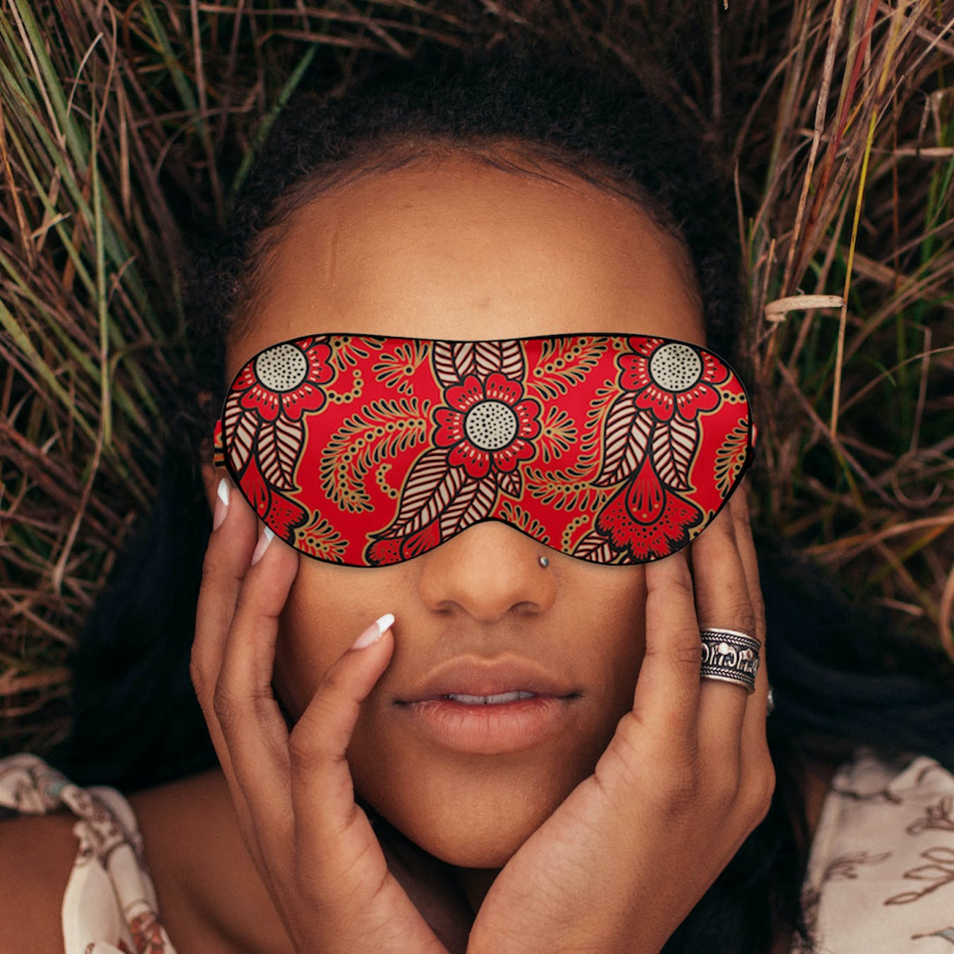 Luxury Silk Eye Mask - Red Henna