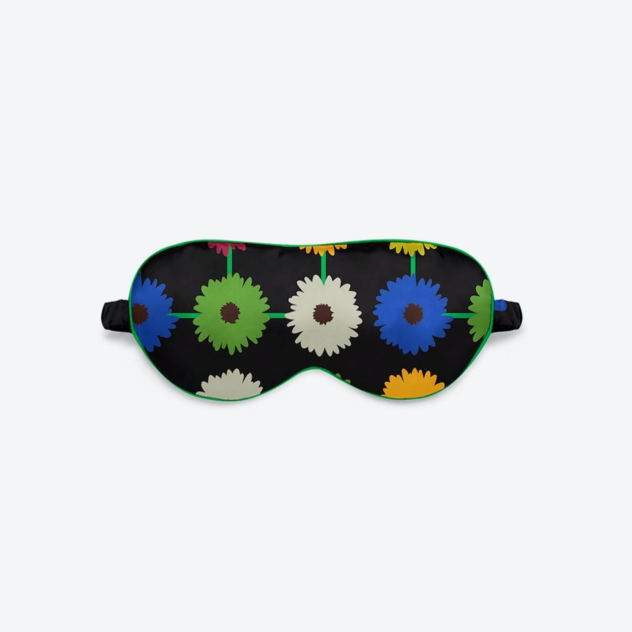Luxury Silk Eye Mask - Multi Bloom Dark