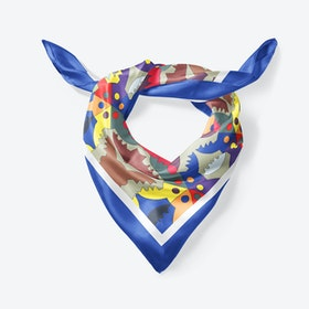 Blue Ada Large Square Silk Scarf 90cm