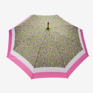 Windproof Auto Open Large Umbrella in Pink Lilies Design