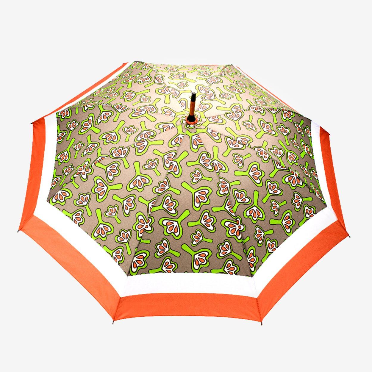 Windproof Auto Open Large Umbrella in Tan Lilies Design