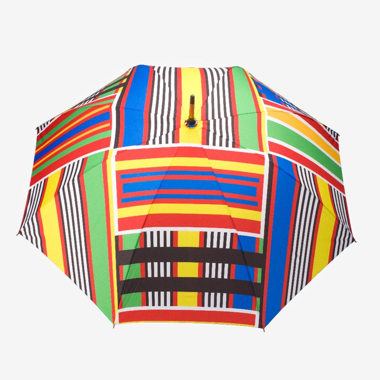 Windproof Auto Open Large Umbrella in Vintage Kente