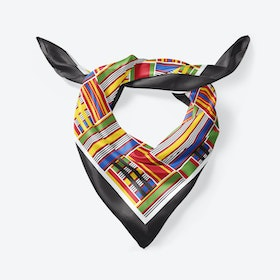 Black Kente Large Square Silk Scarf 90cm
