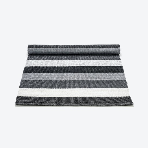 Plastic Rug in Black, Grey, White Stripes (200 x 300 cm)