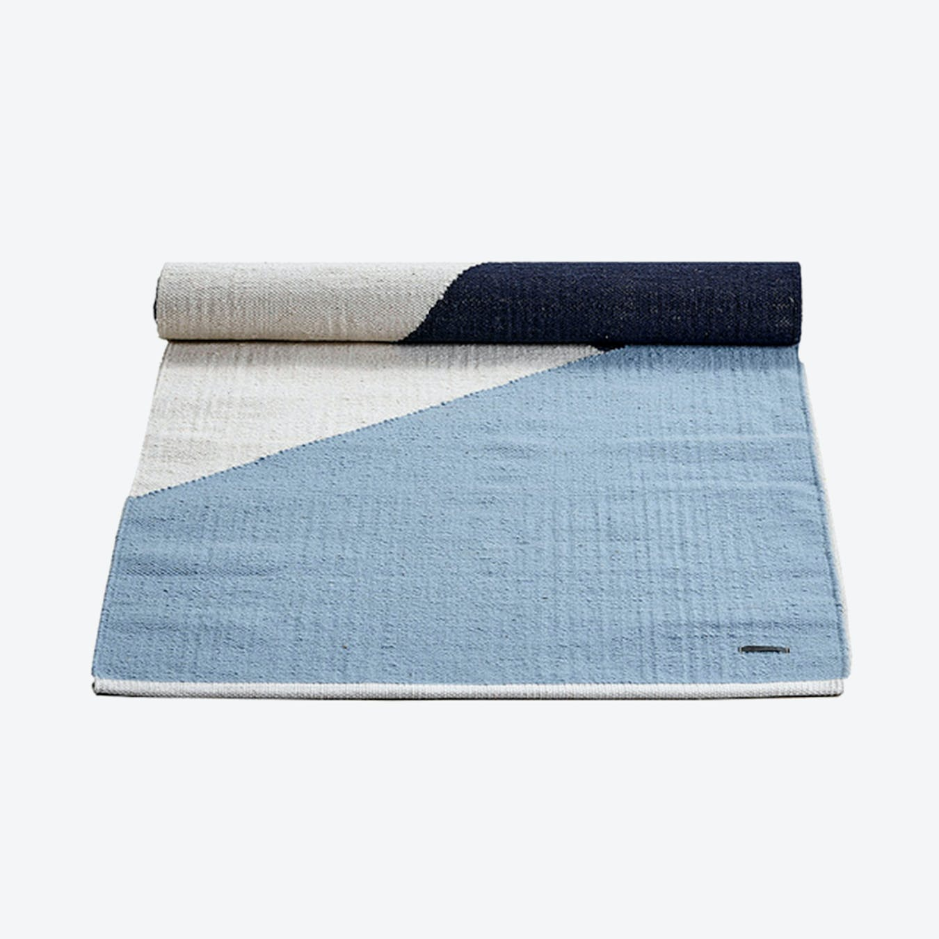 Horizon Wool Rug in Blue and White