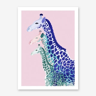 Giraffes in Pink Art Print