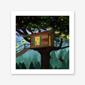 Treehouse Adventure Art Print