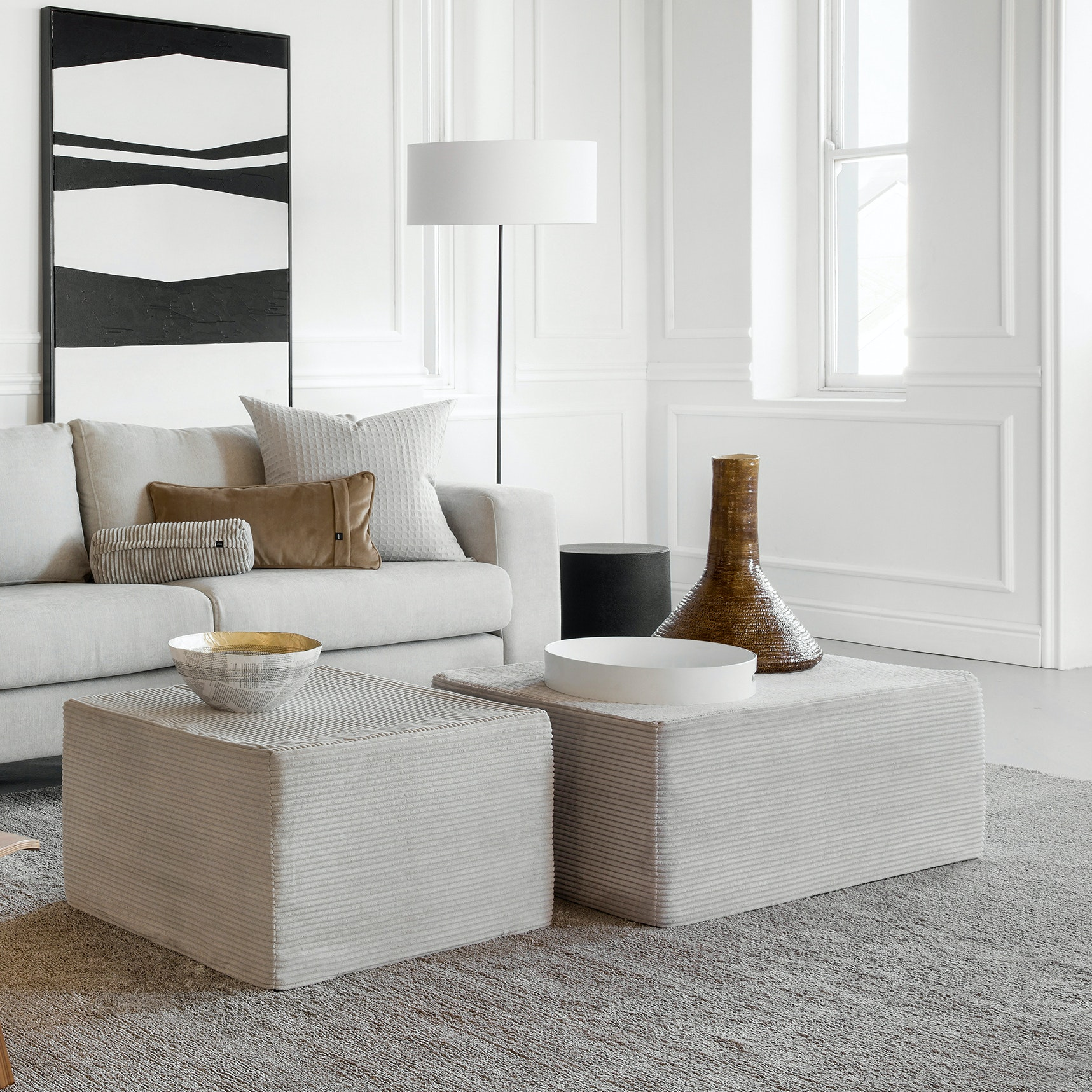 Sensational Bloc Ottoman In Platinum Corduroy Ocoug Best Dining Table And Chair Ideas Images Ocougorg