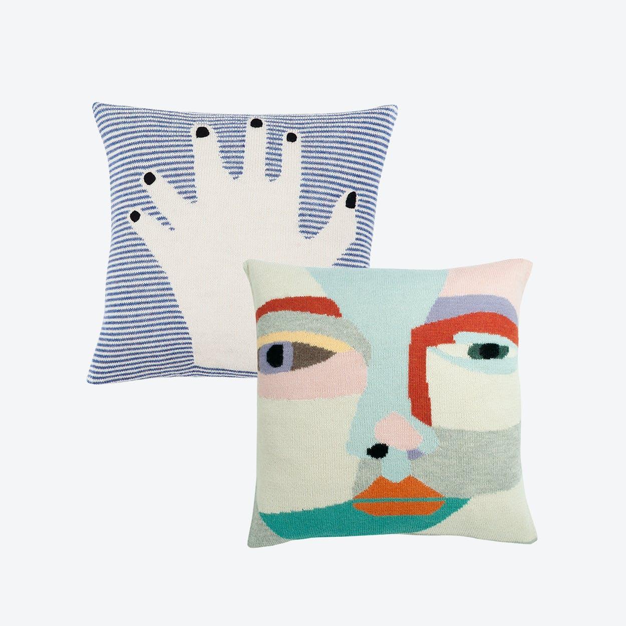 Fancy Finger Blue & Face it Cushion Case (Set of 2)