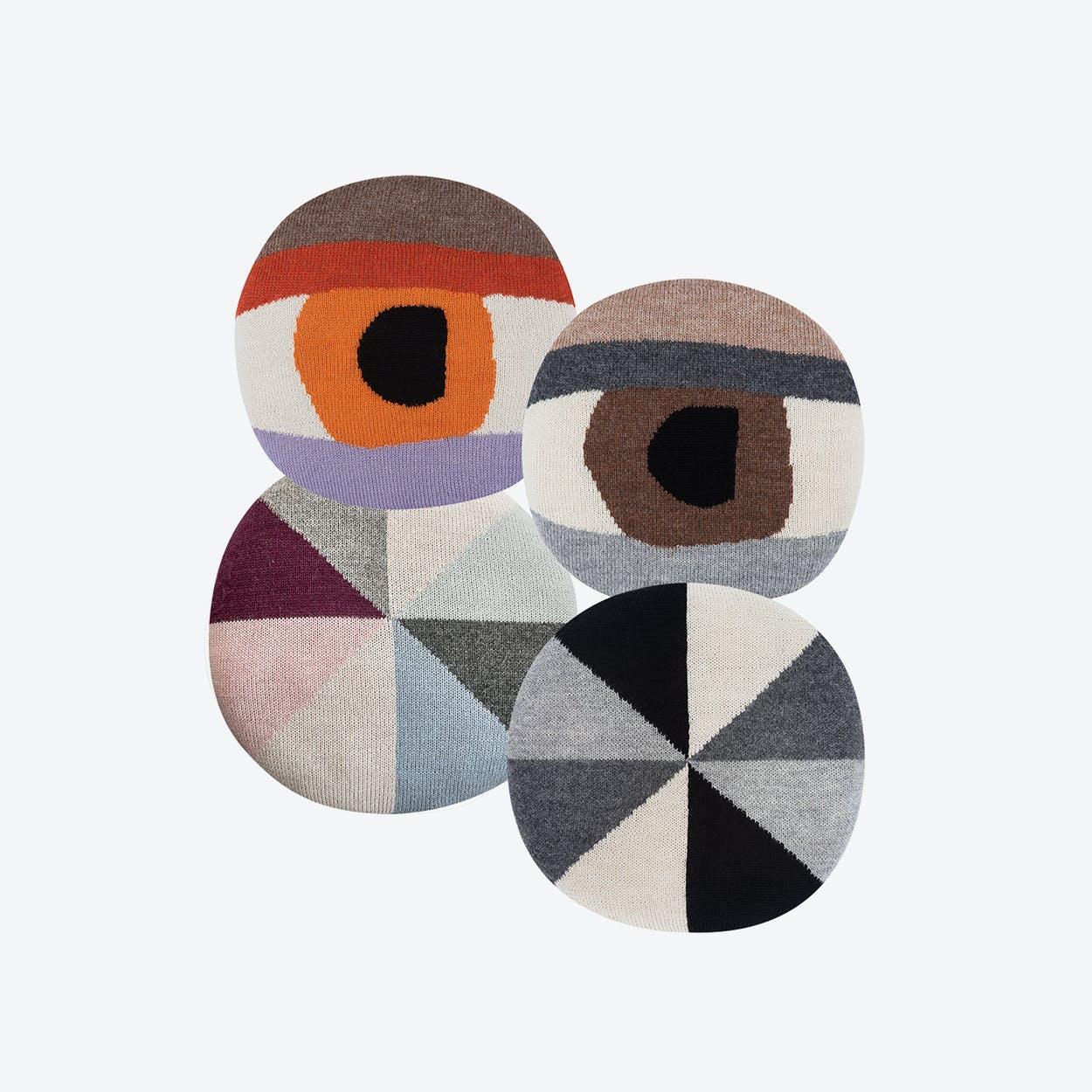 Bobby in Grey, Flower & Pretty Eye Chair Pillow in Brown & Orange