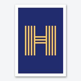 Yellow Letter H Art Print