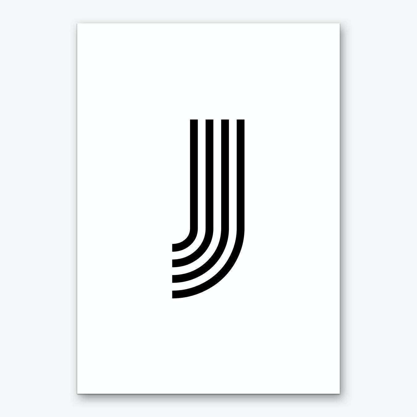 Letter Art Print.Black Letter J Art Print