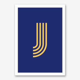 Yellow Letter J Art Print