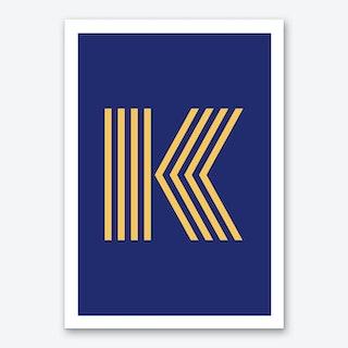 Yellow Letter K Art Print