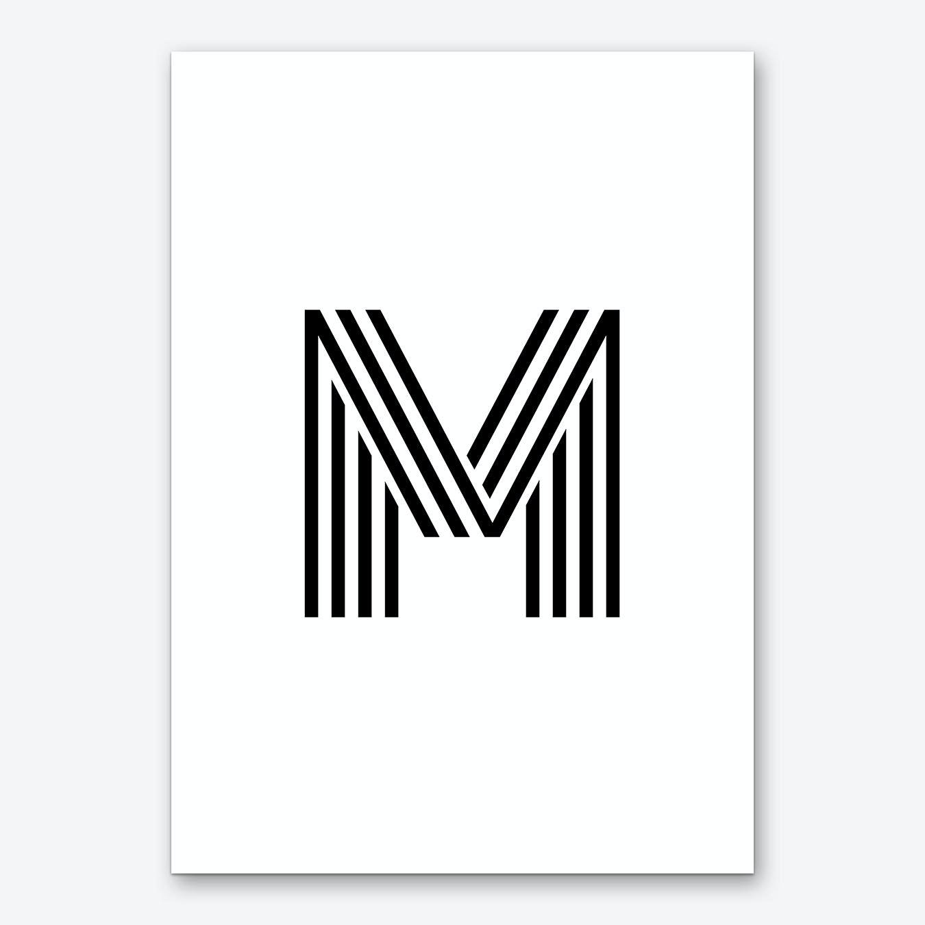 Letter Art Print.Black Letter M Art Print