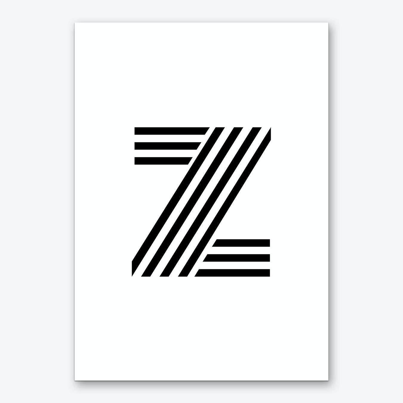 Letter Art Print.Black Letter Z Art Print