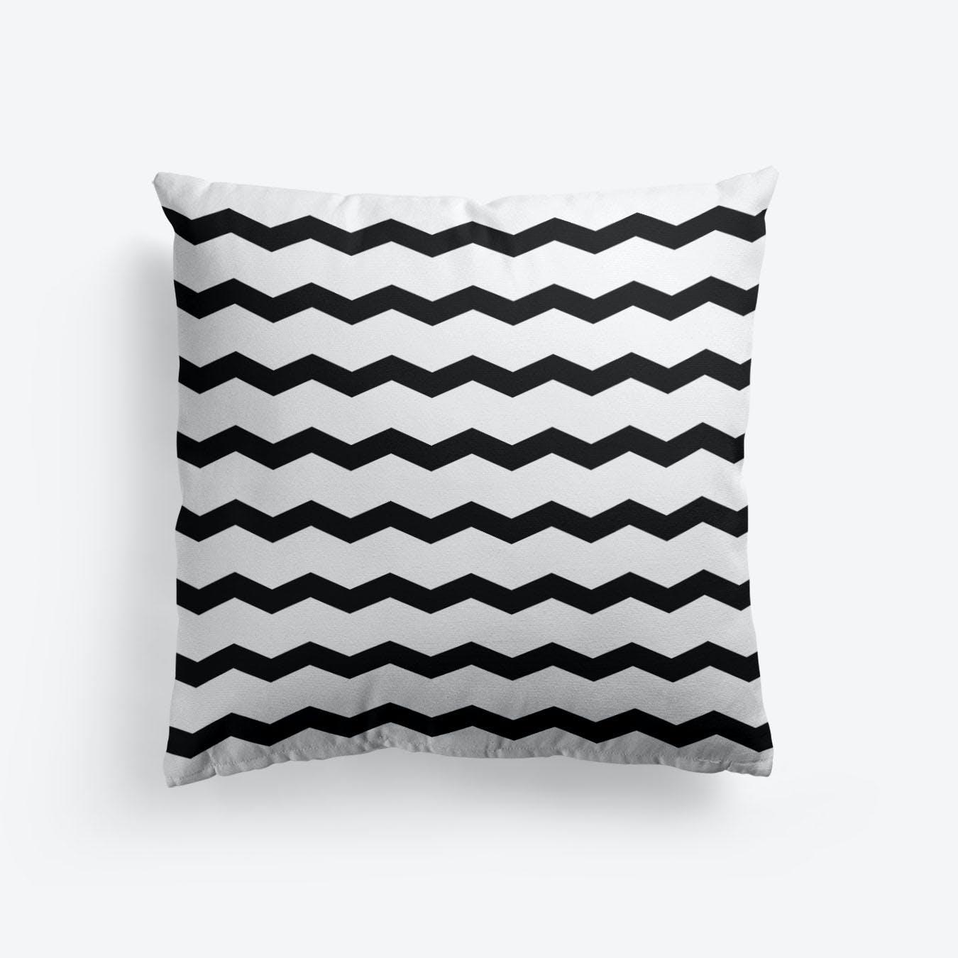Chevron In Black And White Cushion