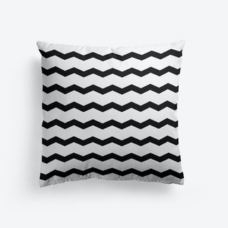 Chevron In Black And White Cushion