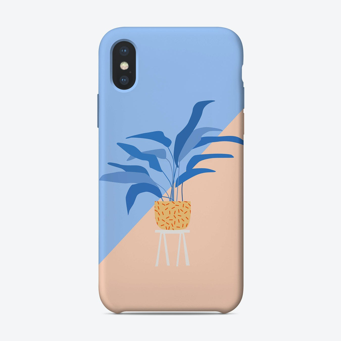 Plant Illustration in Blue iPhone Case