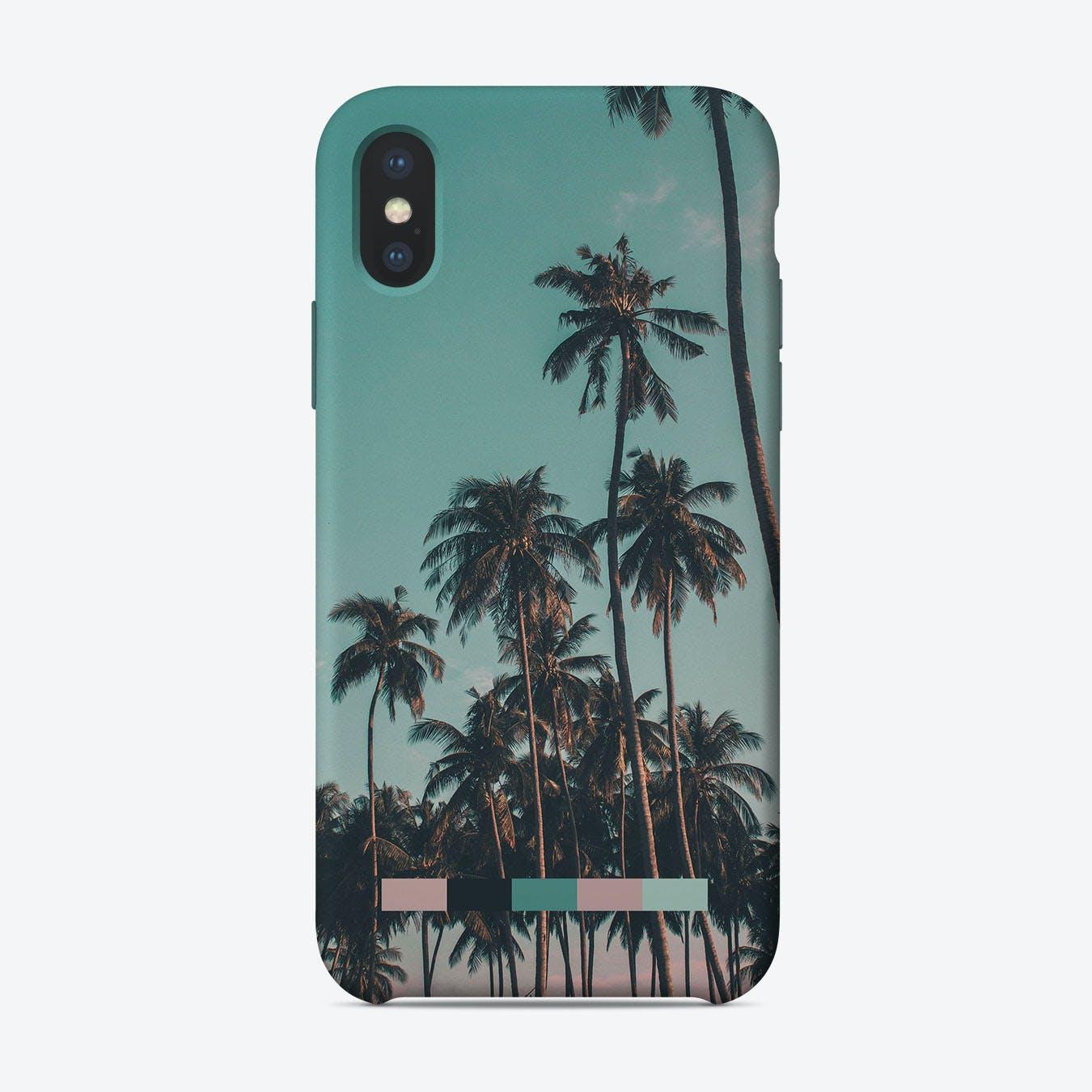 Retro Colorful Palms iPhone Case