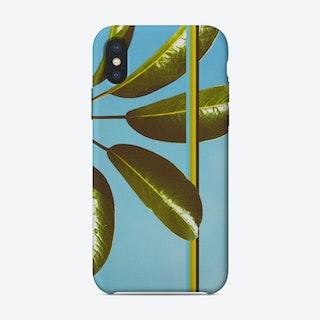 Retro Green Leaves Design iPhone Case