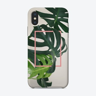 Tropical Pink Monstera Leaves iPhone Case