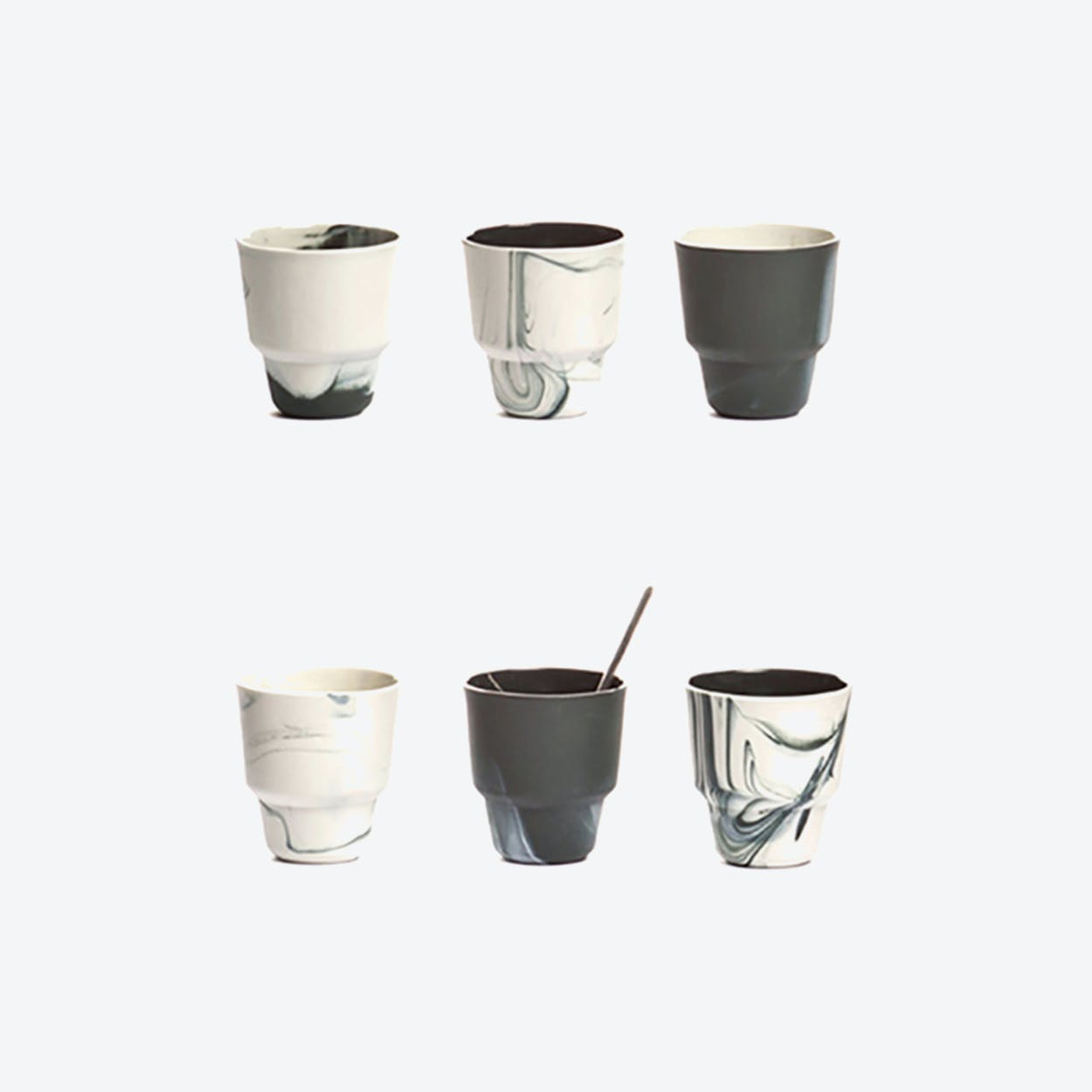 Pigments & Porcelain Cups in Black (set of 6x, 80ml)