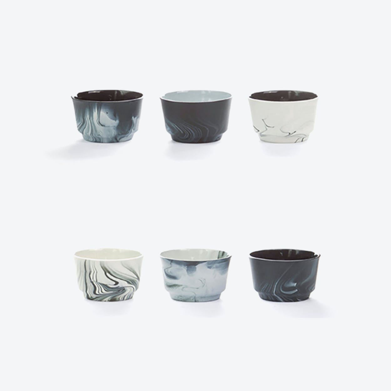 Pigments & Porcelain Cups in Black (set of 6x, 120ml)