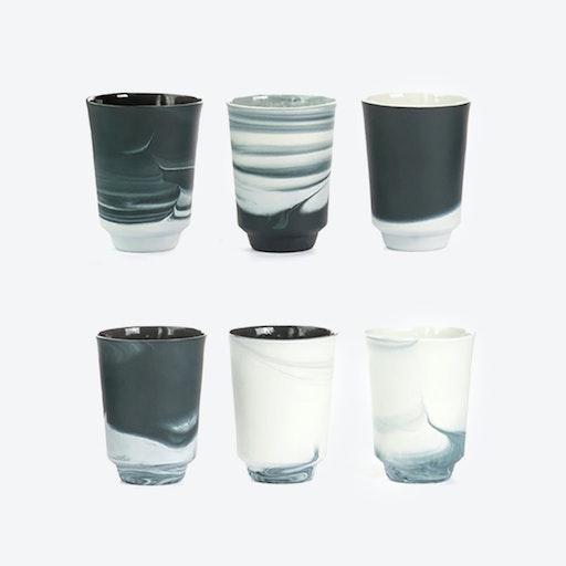 Pigments & Porcelain Tea in Black (set of 6x 300ml)
