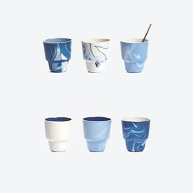 Pigments & Porcelain Cups in Blue (set of 6x 80ml)