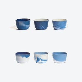 Pigments & Porcelain Cups in Blue (set of 6x 120ml)