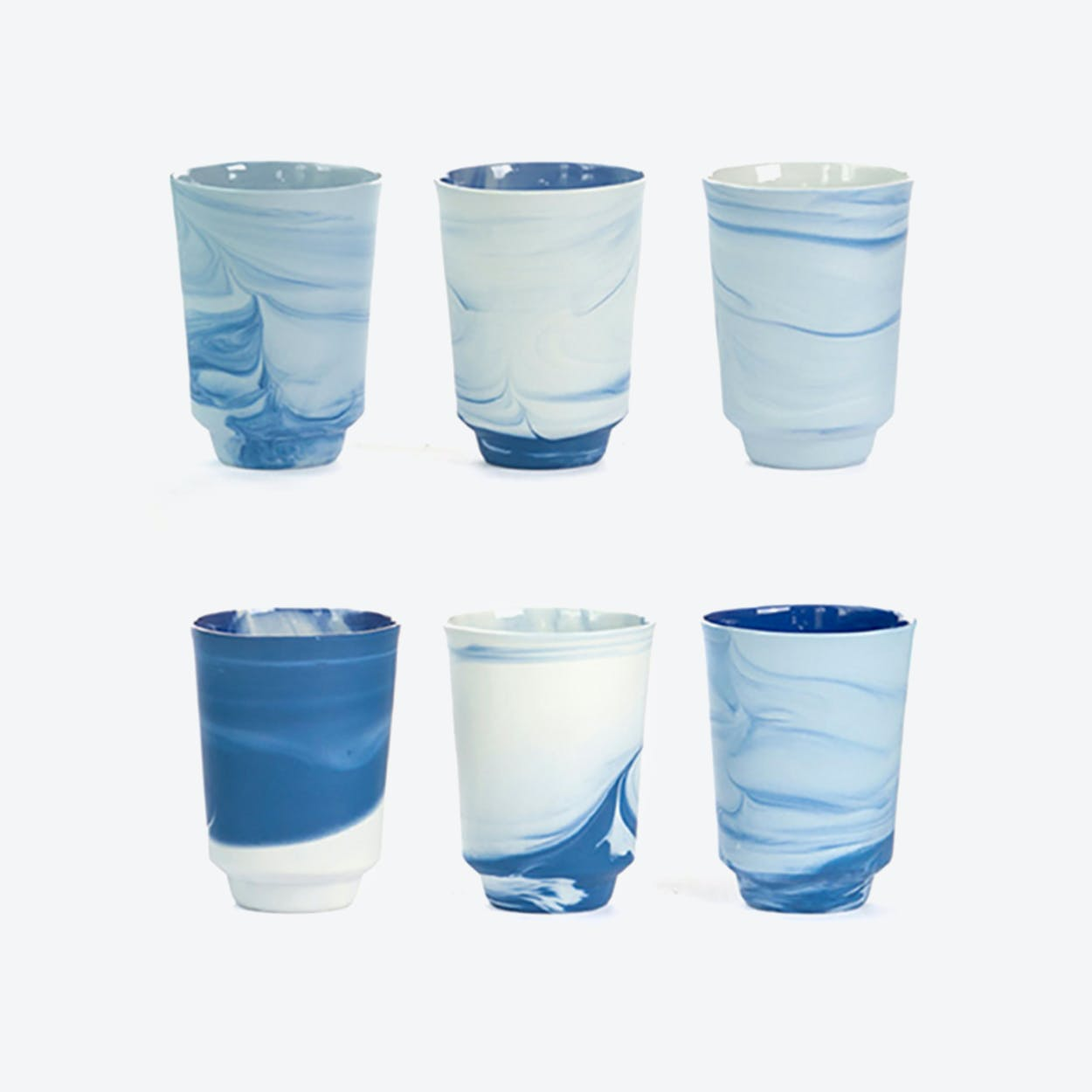 Pigments & Porcelain Tea Cups in Blue (set of 6x, 300ml)