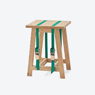 Strap Stool with Green Straps