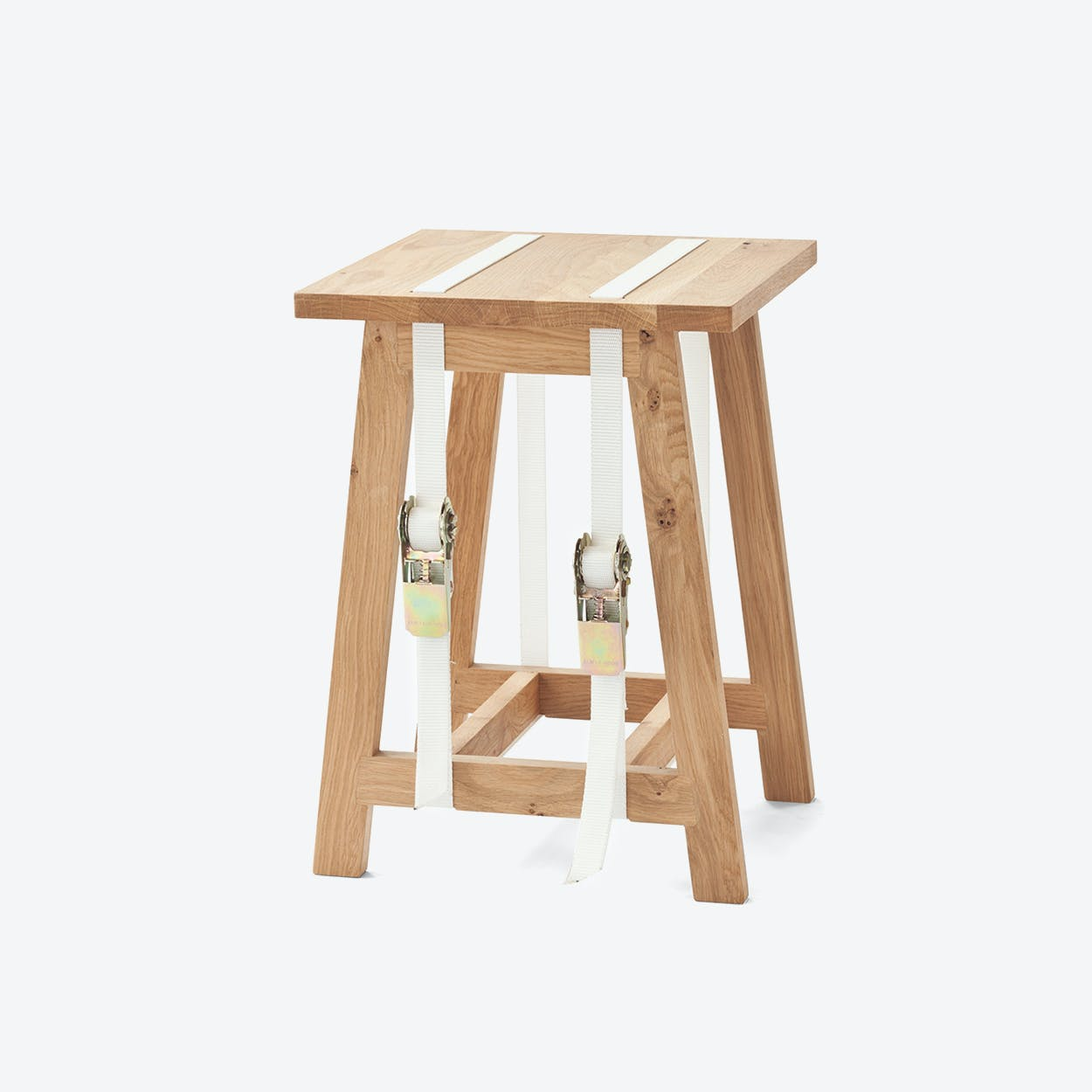 Strap Stool with White Straps