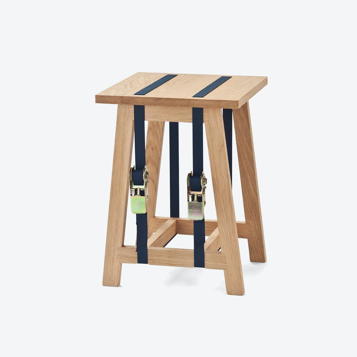 Strap Stool with Dark Blue Straps