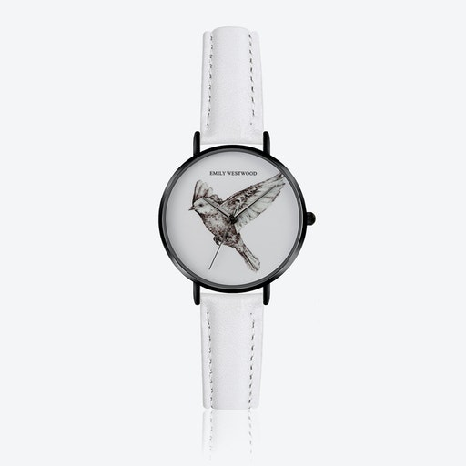 Enamel Bird Print Watch in White Leather ⌀33
