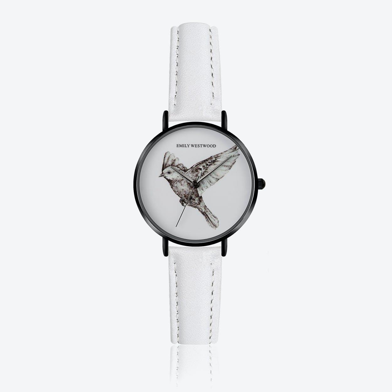 Enamel Bird Print Watch in White Leather ⌀33