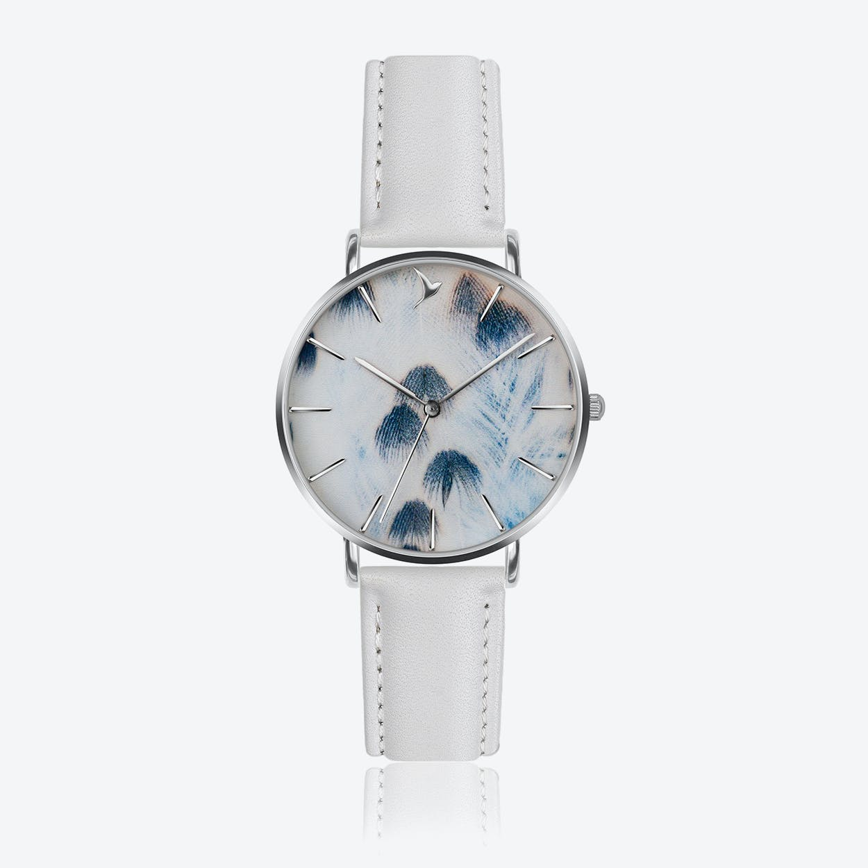 Feather Print Watch in White Leather/ Silver Case ⌀38