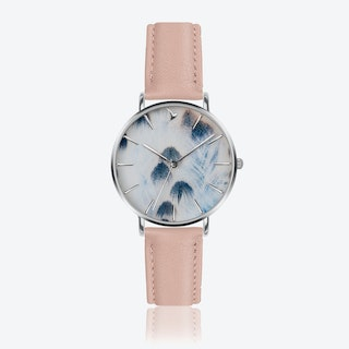 Feather Print Watch in Pink Leather ⌀38