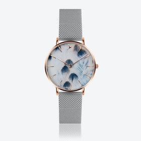 Feather Print Watch in Silver ⌀38