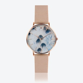Feather Print Watch in Rose Gold ⌀38