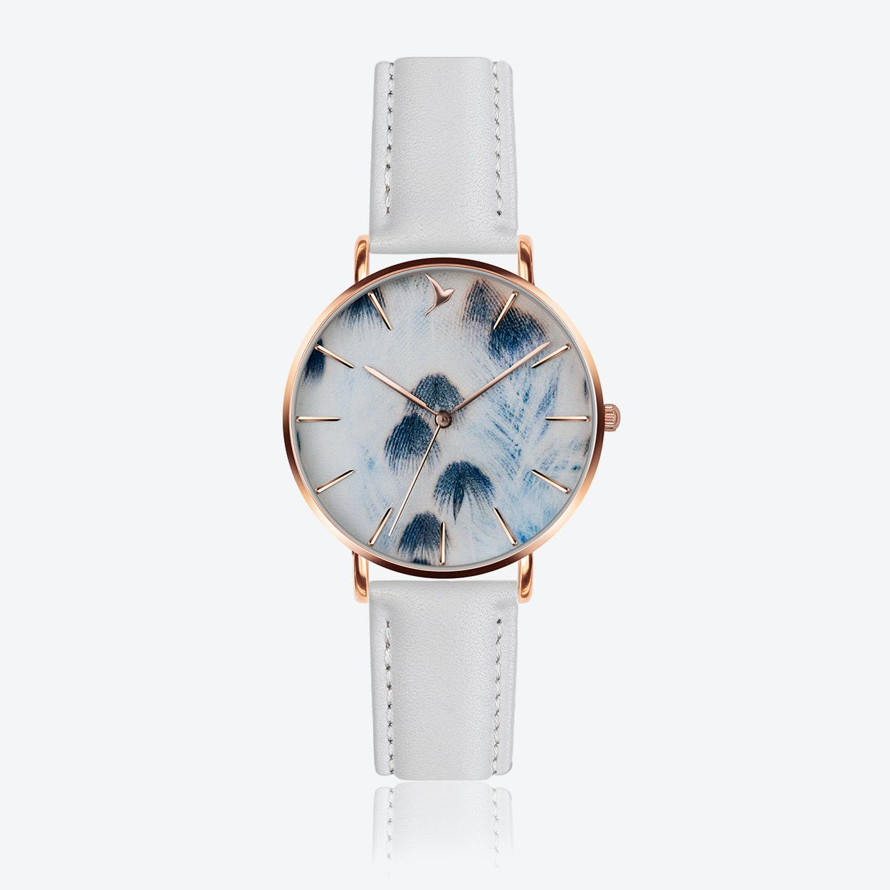 Feather Print Watch in White Leather/ Rose Gold Case ⌀38