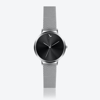 Black Sunray Watch in Silver ⌀33