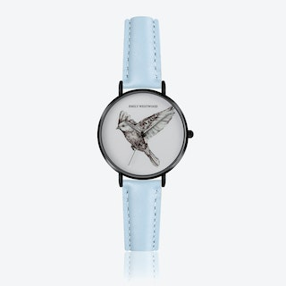 Enamel Bird Print Watch in Light Blue Leather ⌀33