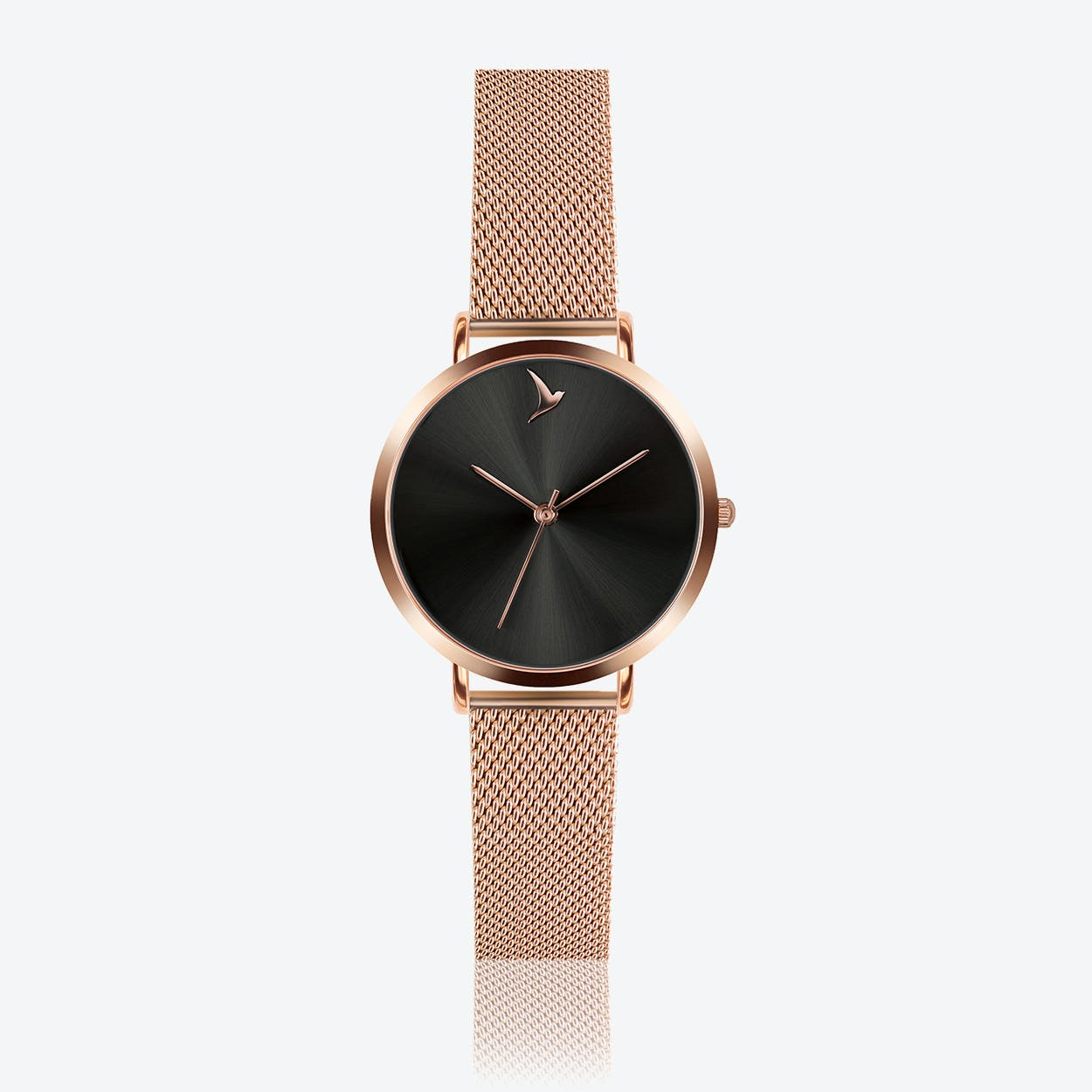 Black Sunray Watch in Rose Gold ⌀33