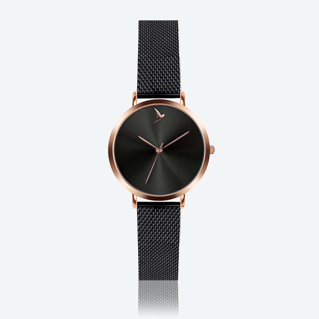 Black Sunray Watch in Black/ Rose Gold Case ⌀33