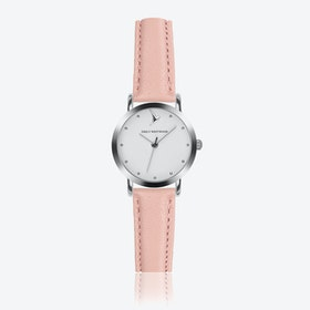 Marshmallow White Watch in Pink Leather/ Silver Case ⌀28