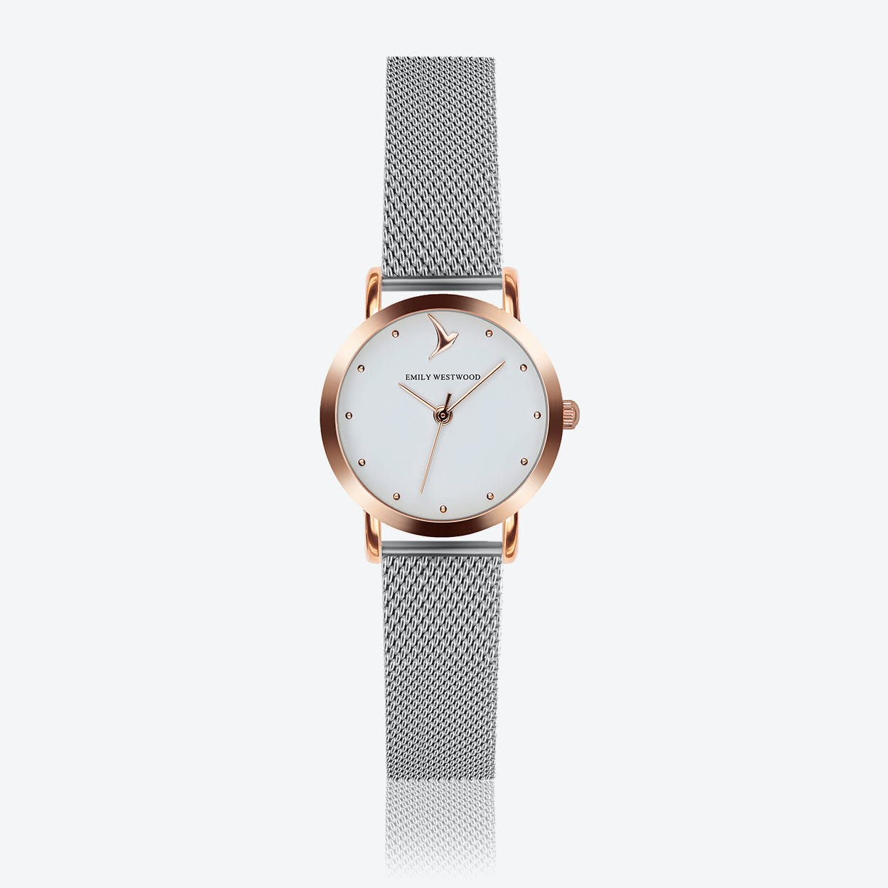 Marshmallow White Watch in Silver/Rose Gold Case ⌀28